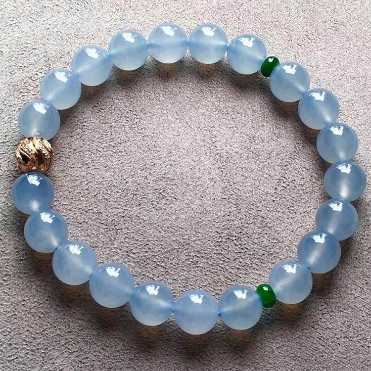 冰種藍水圓珠翡翠手鏈