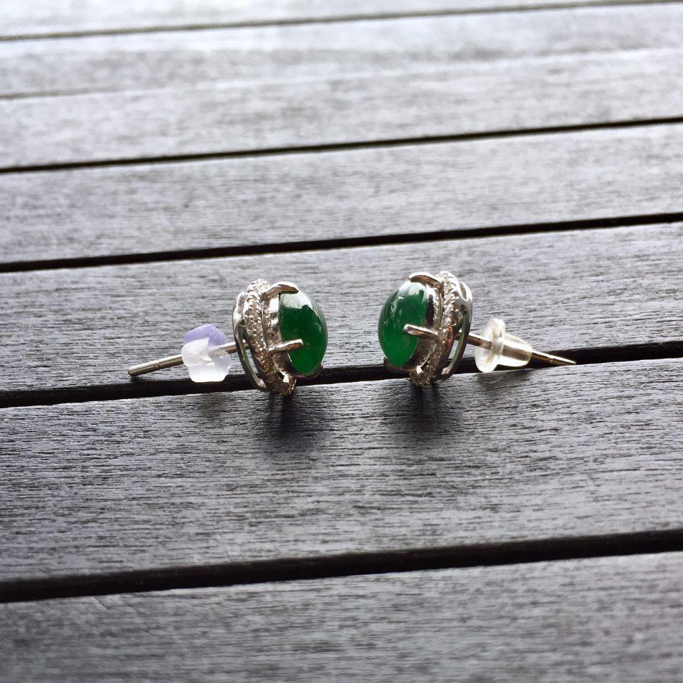 冰种蓝绿翡翠耳钉镶白金钻石第6张
