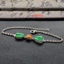 冰种绿晴水水滴翡翠手链 镶白金钻石