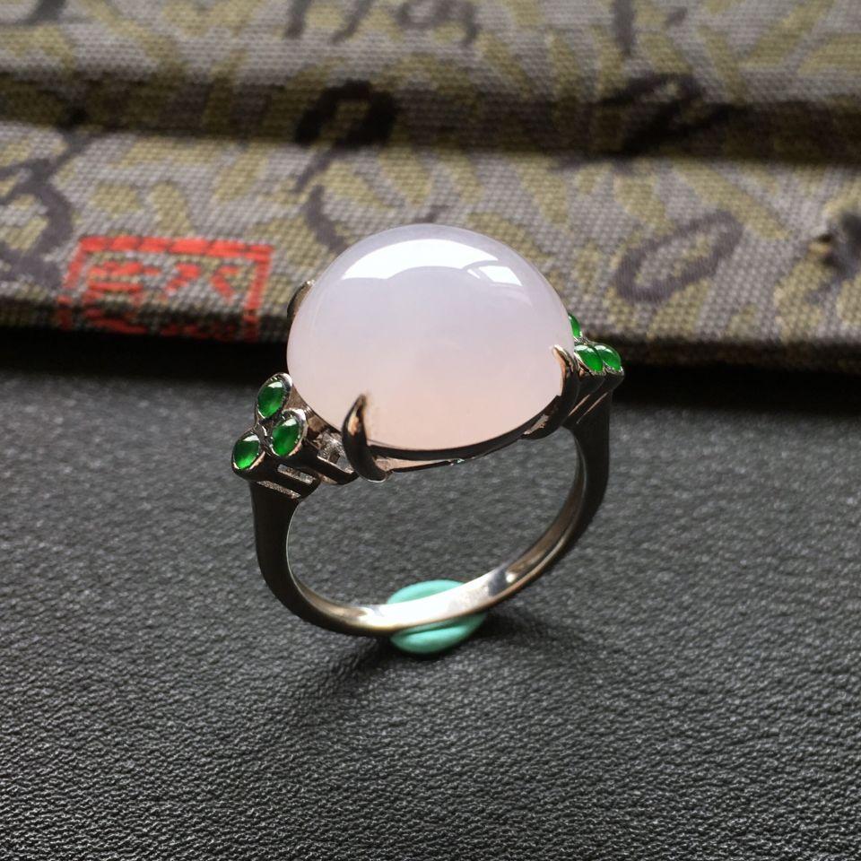 糯冰种淡紫罗兰/深绿圆形翡翠戒指