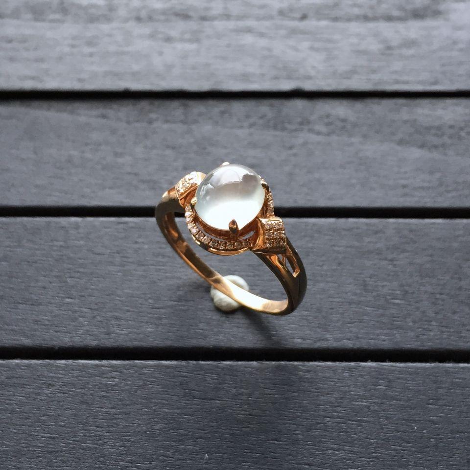 冰种无色翡翠戒指 镶玫瑰金钻石第1张