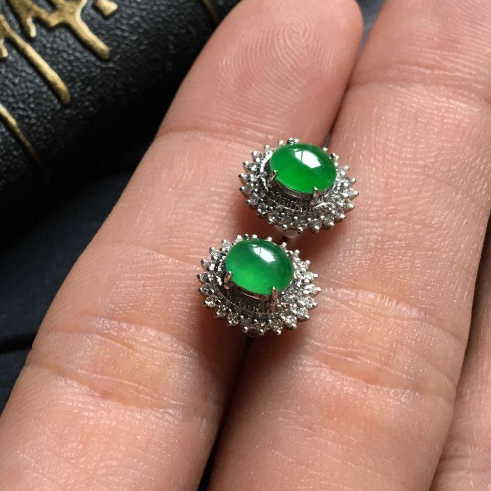 翠色冰种翡翠耳钉镶白金钻石第4张