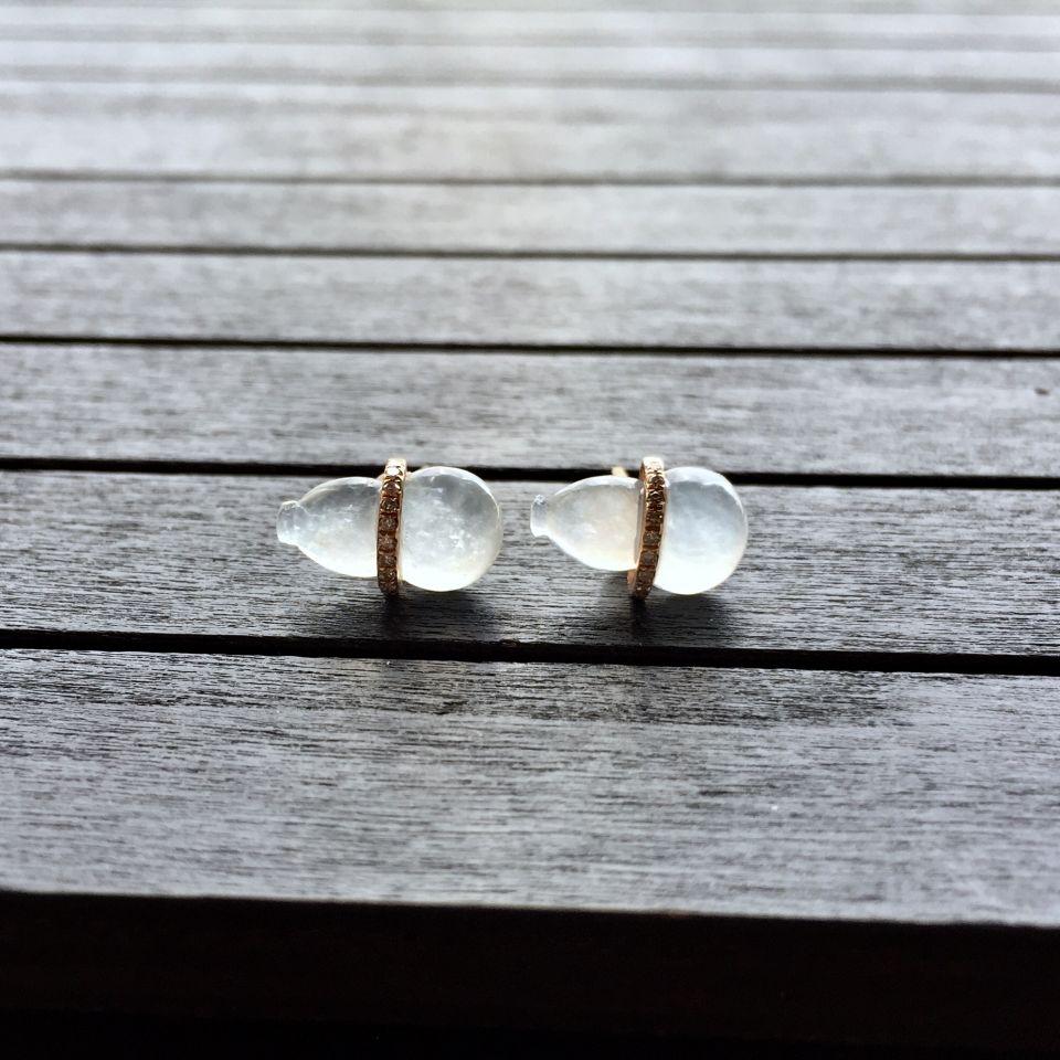 冰种淡晴水翡翠葫芦耳钉 镶玫瑰金钻石第4张