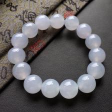 冰糯种白色圆珠翡翠手串