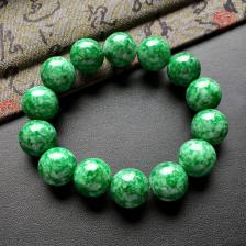 菠菜绿细糯种圆珠翡翠手串