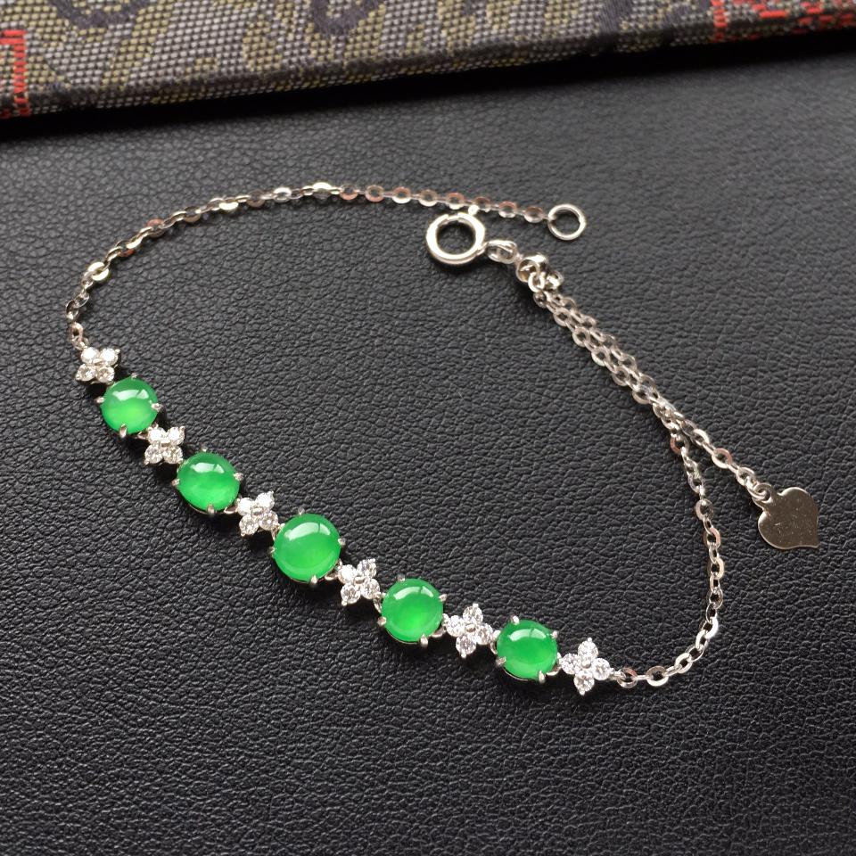 冰种翠色翡翠手链镶白金钻石第2张