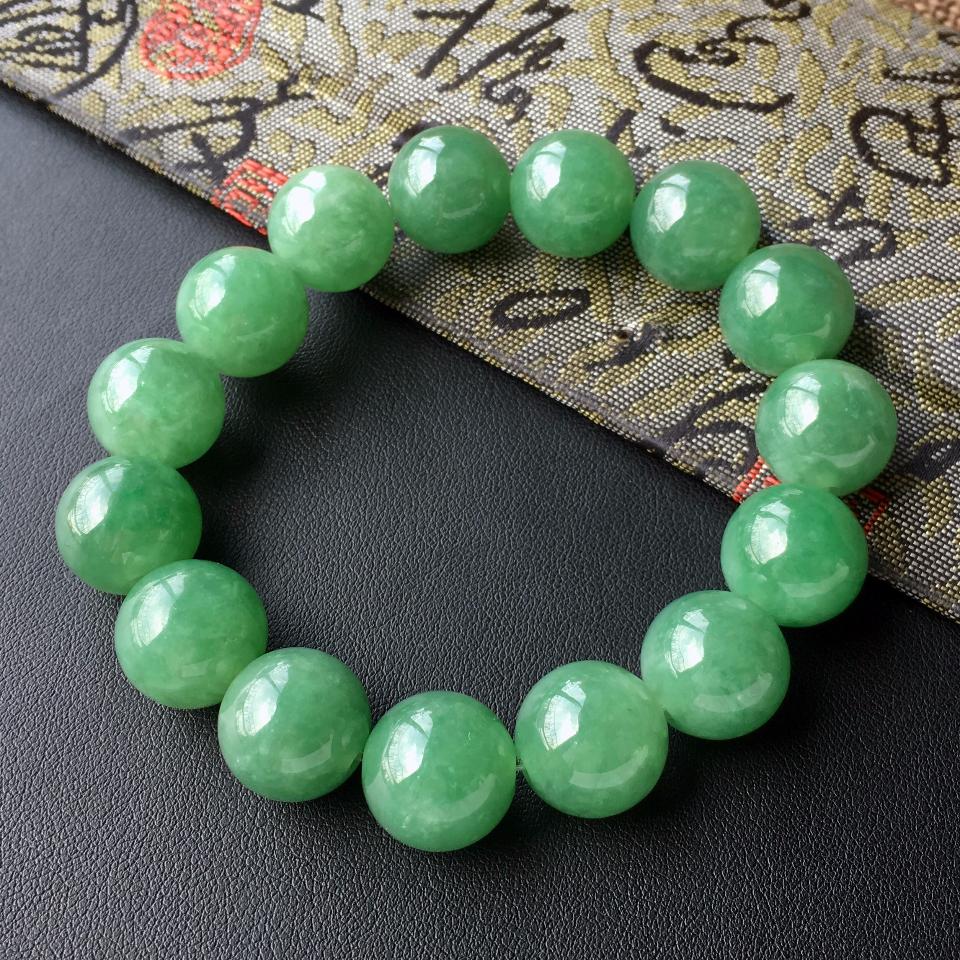 糯冰种青绿色圆珠翡翠手串第4张