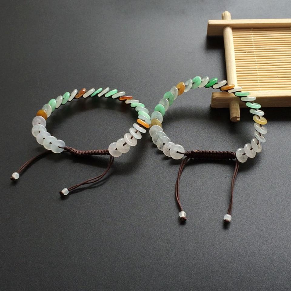 冰糯种三彩平安扣翡翠手链(一对)