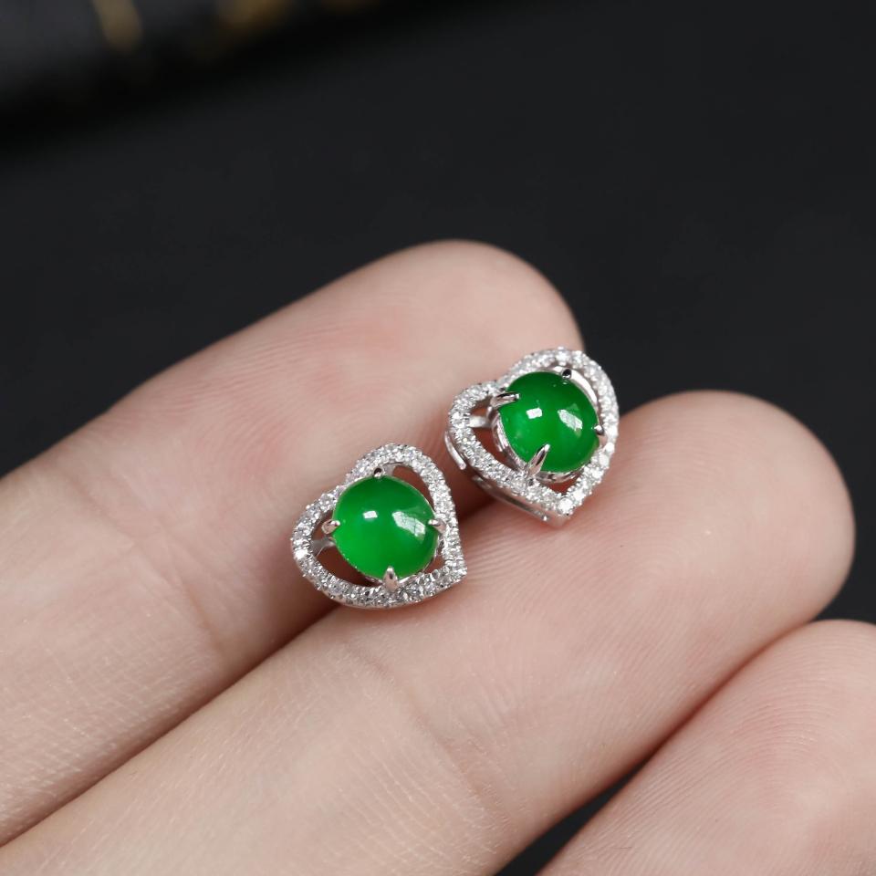 浓绿糯冰种翡翠耳钉 镶白18K金钻石第3张