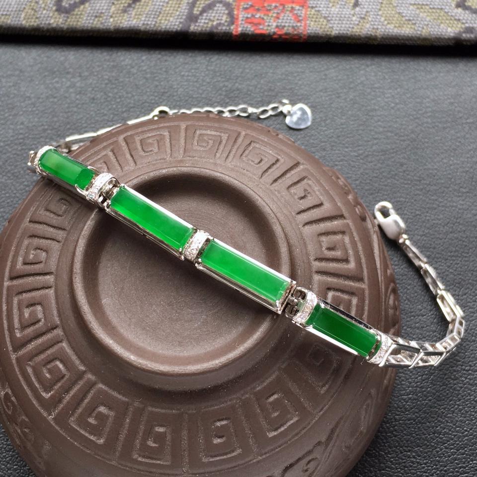 冰种深绿方形翡翠手链 镶白金钻石第1张
