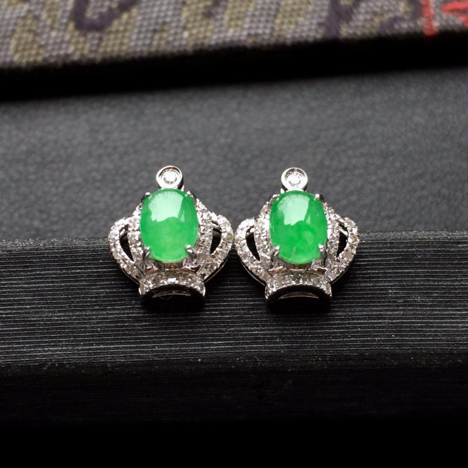 冰种翠色皇冠翡翠耳钉一对 镶白金钻石第2张