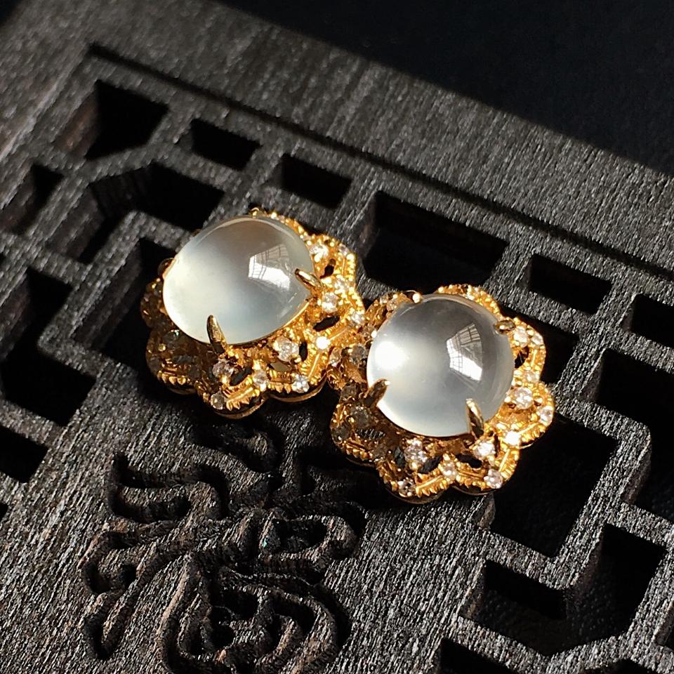 高冰蛋面翡翠耳钉 镶18K黄金钻石