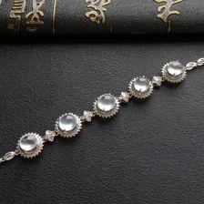 高冰种无色翡翠手链 镶白金钻石