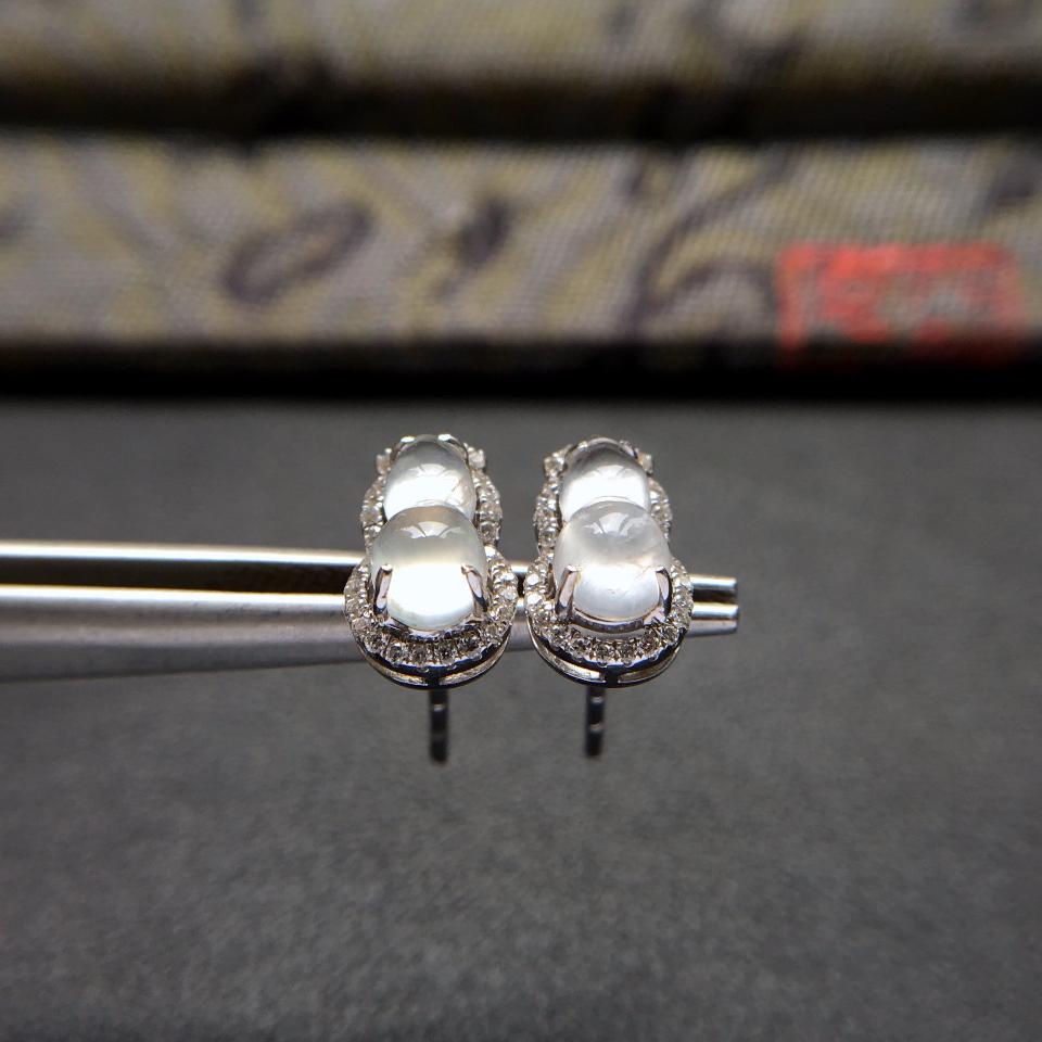 冰种起莹光无色葫芦翡翠耳钉一对 镶白金钻石第2张