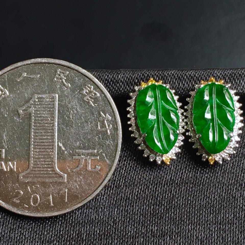 糯冰种浓绿叶子翡翠耳钉 镶白18K金彩宝伴钻第7张