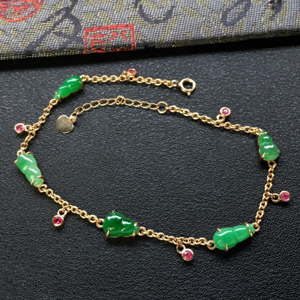 糯冰种翠色/深绿葫芦翡翠手链 镶18k金红宝石