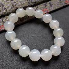 糯冰种白色圆珠翡翠手串