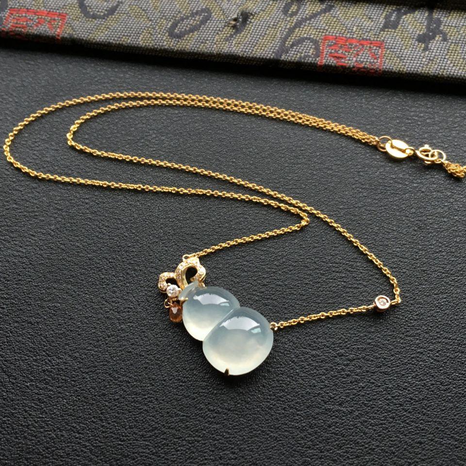 冰种晴水镶18k金钻石葫芦翡翠项链