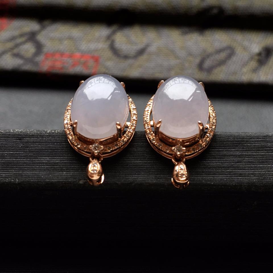 糯冰种紫罗兰翡翠耳钉一对 镶玫瑰金钻石第4张