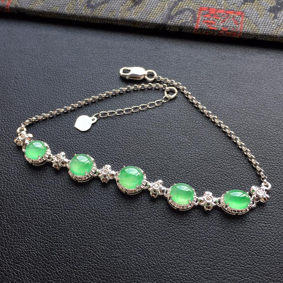 冰种绿晴水翡翠手链镶白金钻石第3张