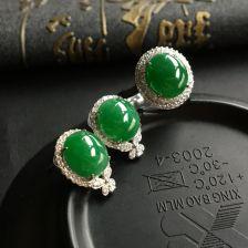糯冰种深绿翡翠戒指/耳钉(一套)