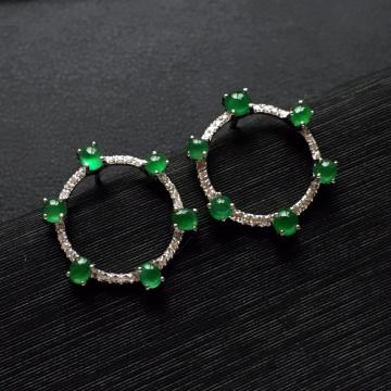 深绿冰种翡翠耳钉一对 镶白金钻石