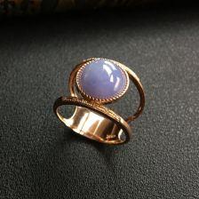 糯冰种紫罗兰翡翠戒指 镶玫瑰金钻石