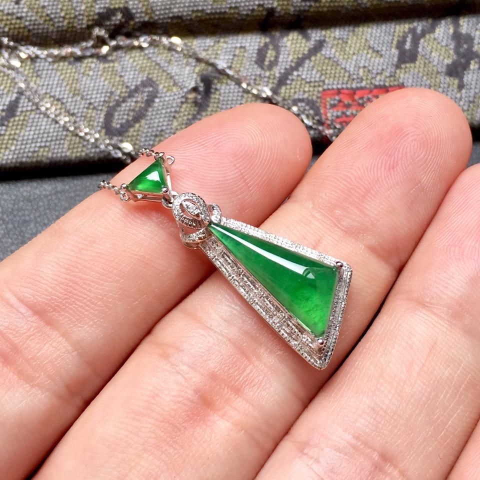 冰种深绿随形翡翠锁骨链镶白金钻石第5张