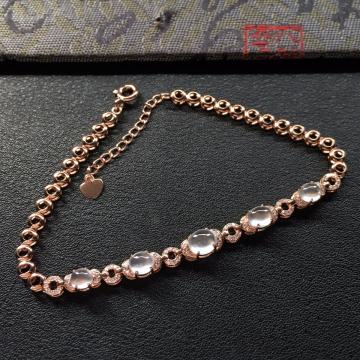 冰种无色起光翡翠手链 镶玫瑰金钻石