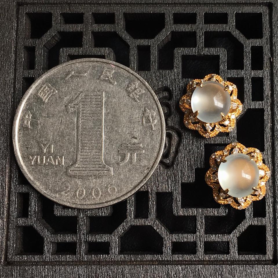 高冰蛋面翡翠耳钉 镶18K黄金钻石第7张