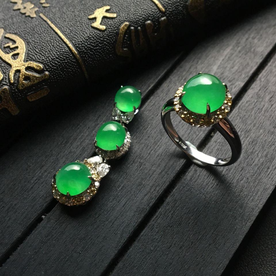 冰种绿晴水翡翠戒指/胸坠(一套)