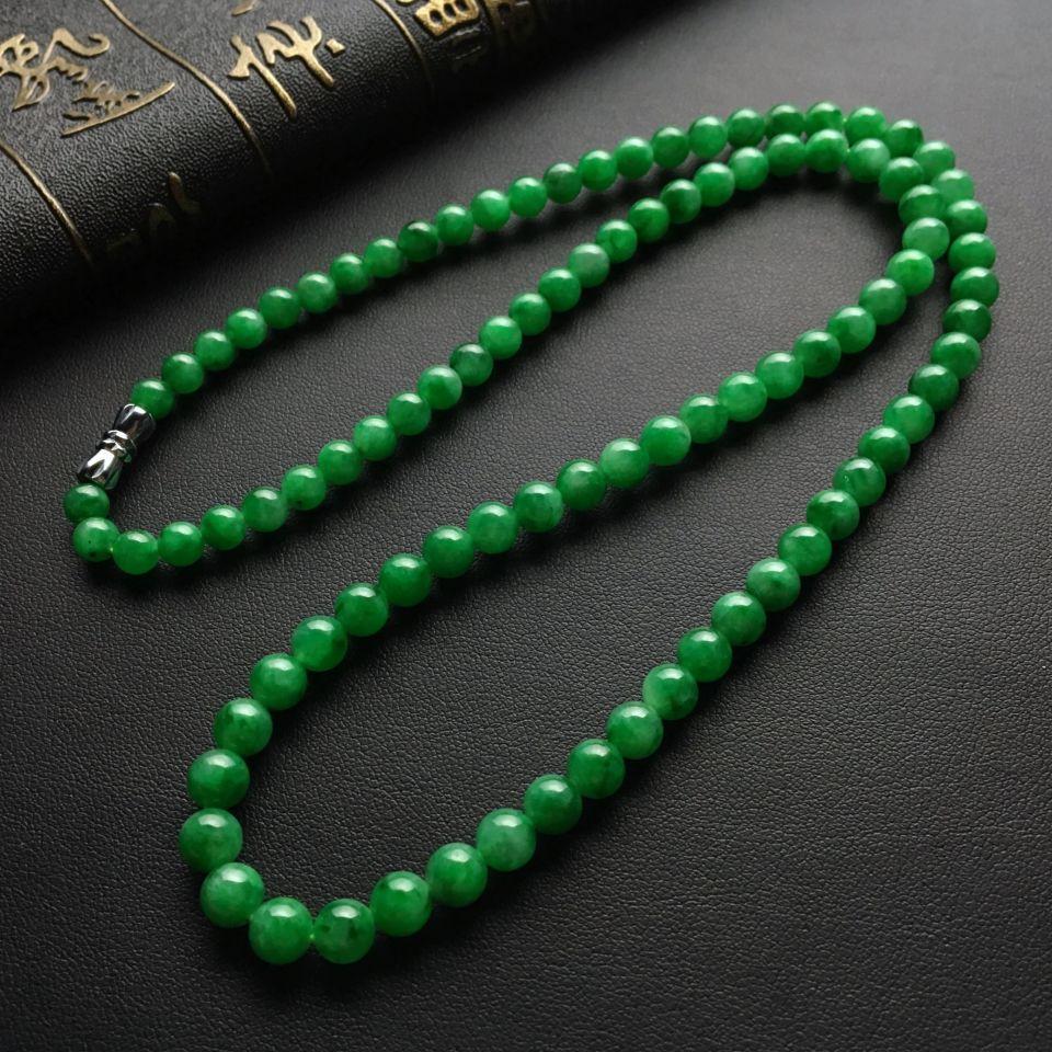 糯冰种翠绿圆珠翡翠项链