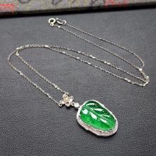 飘绿冰种玉叶翡翠锁骨链 镶白金钻石