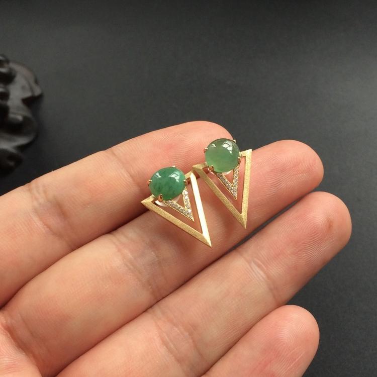 晴水糯冰种翡翠耳钉 镶黄18k金钻石第6张