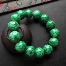 浓绿细糯种圆珠翡翠手串