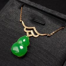 糯冰种阳绿葫芦项链 镶18k玫瑰金钻石