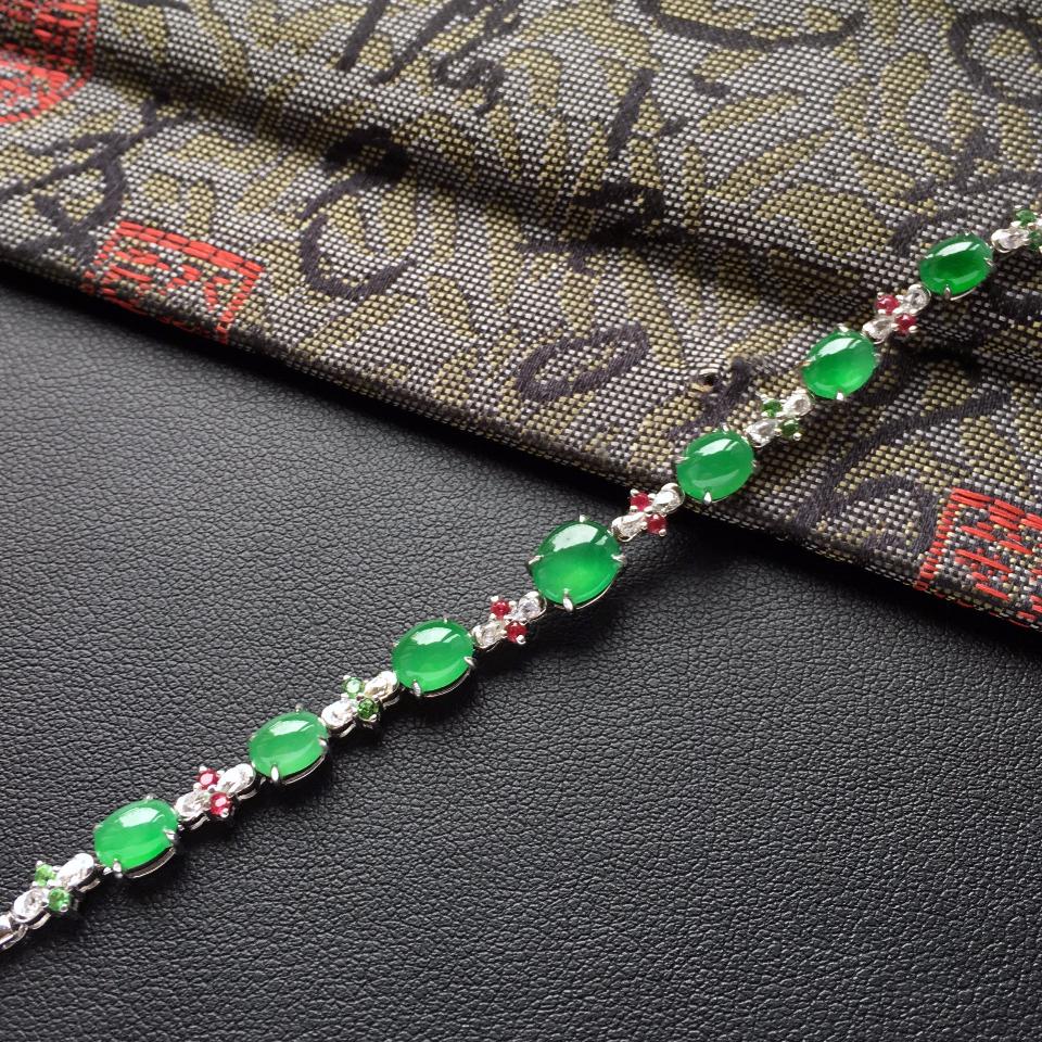 翠色冰种翡翠手链镶白金钻石/彩宝第5张