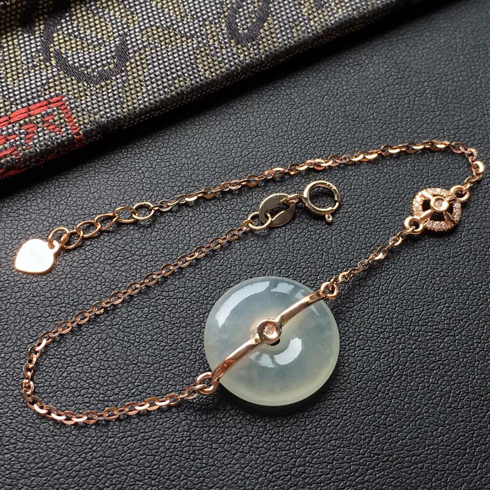 冰种淡晴水平安扣翡翠手链 镶玫瑰金钻石