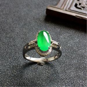 冰种翠色镶白金钻石翡翠戒指