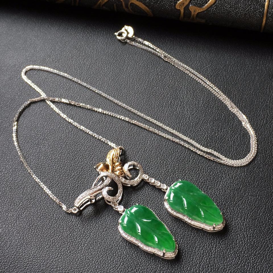 深绿冰种金枝玉叶翡翠项链 镶白金钻石