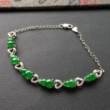 冰种阳绿葫芦翡翠手链 镶白金钻石