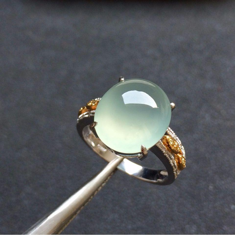 冰种晴水翡翠戒指 镶黄/白18K金钻石