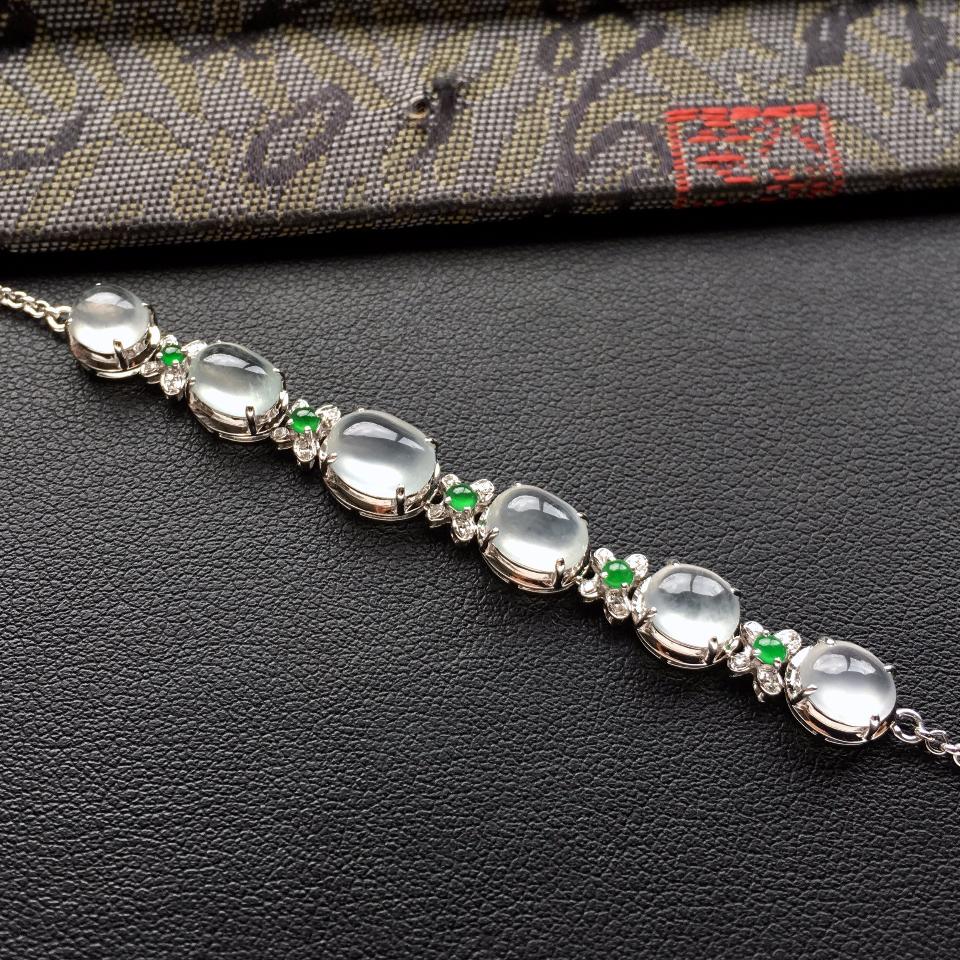 冰种白色翡翠手链镶白金钻石第5张