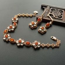 冰种无色/红翡手链/耳坠) 镶白金钻石