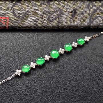 冰种翠色翡翠手链镶白金钻石