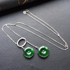 糯冰种浓绿平安扣锁骨链 镶白金钻石