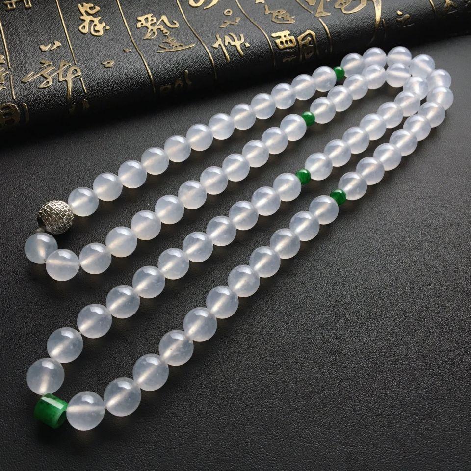 冰种无色圆珠翡翠项链