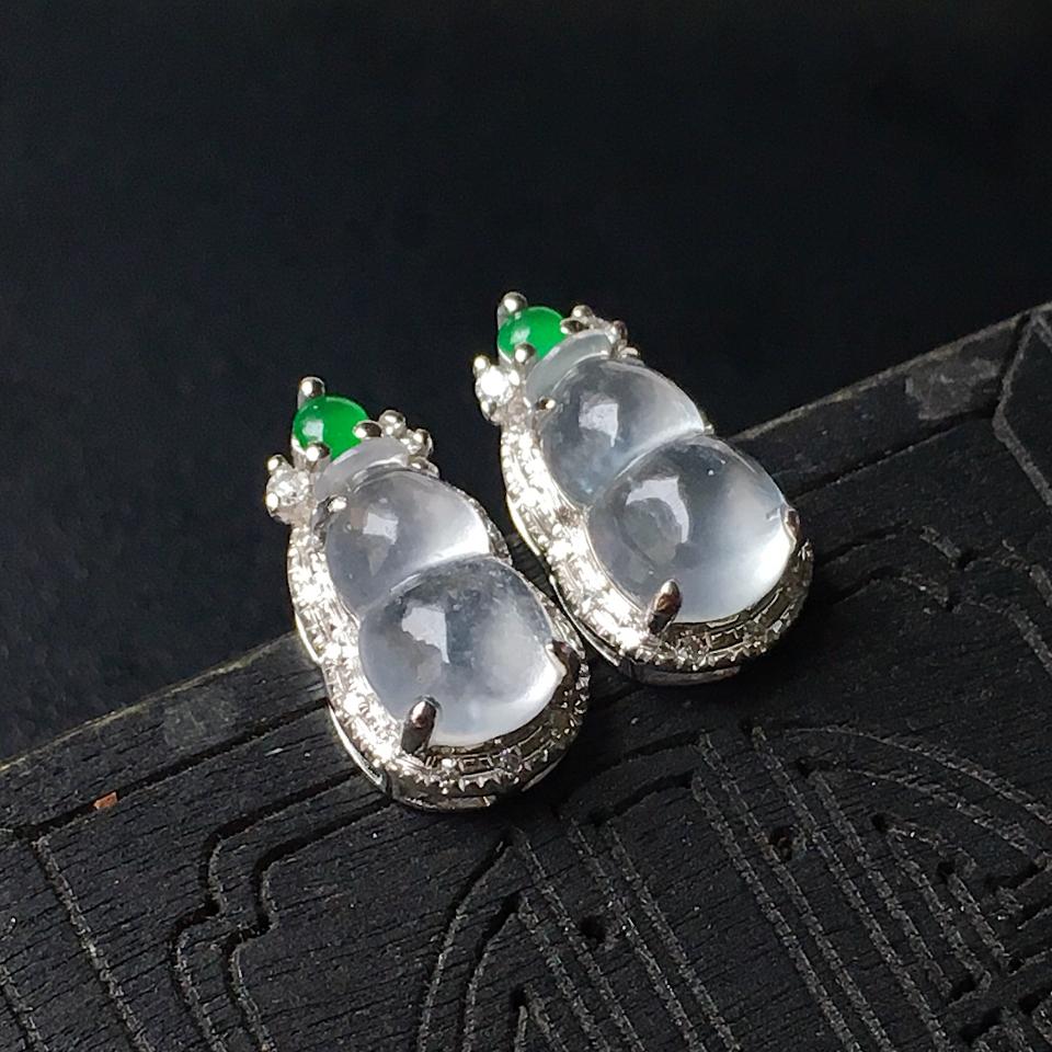 冰种葫芦翡翠耳钉镶白18K金钻石第2张