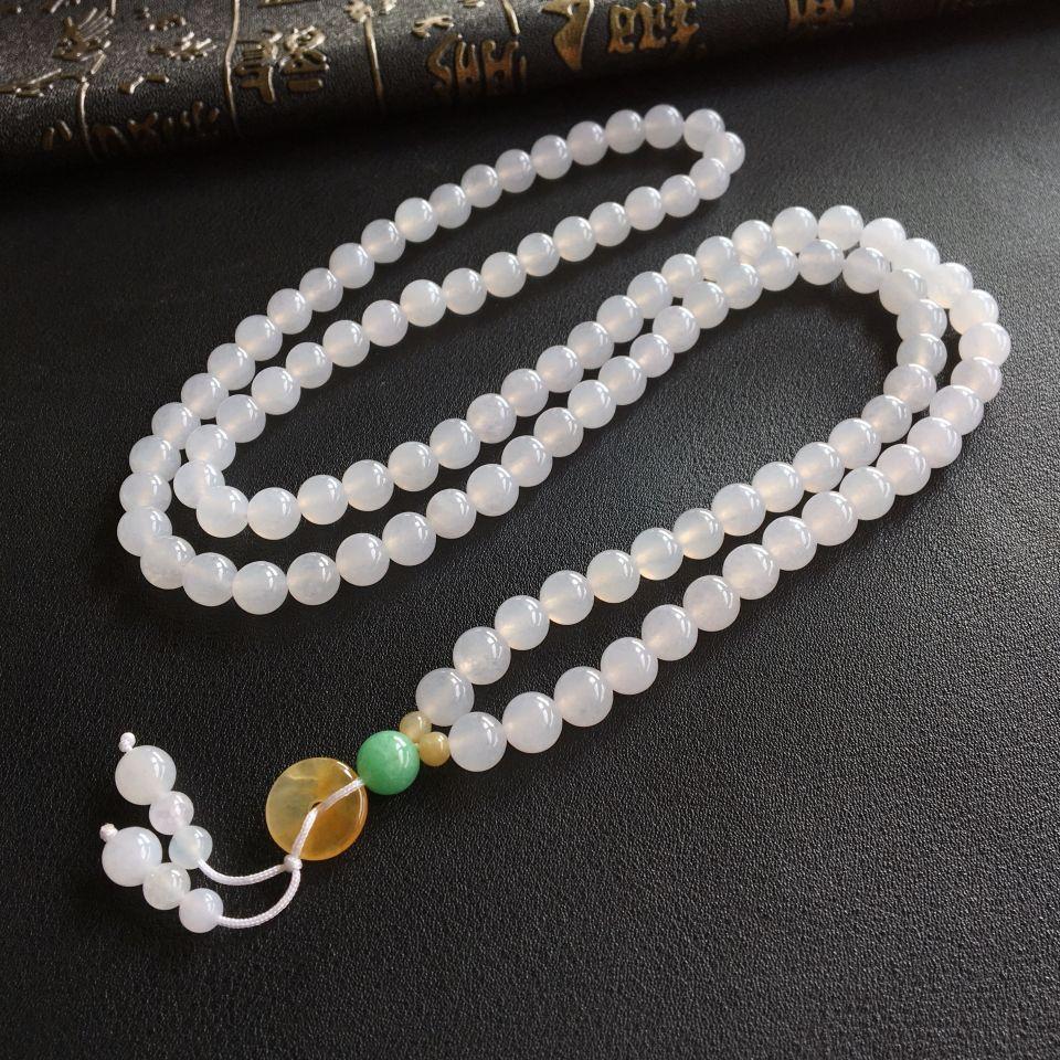 冰种白色圆珠翡翠项链/108颗佛珠
