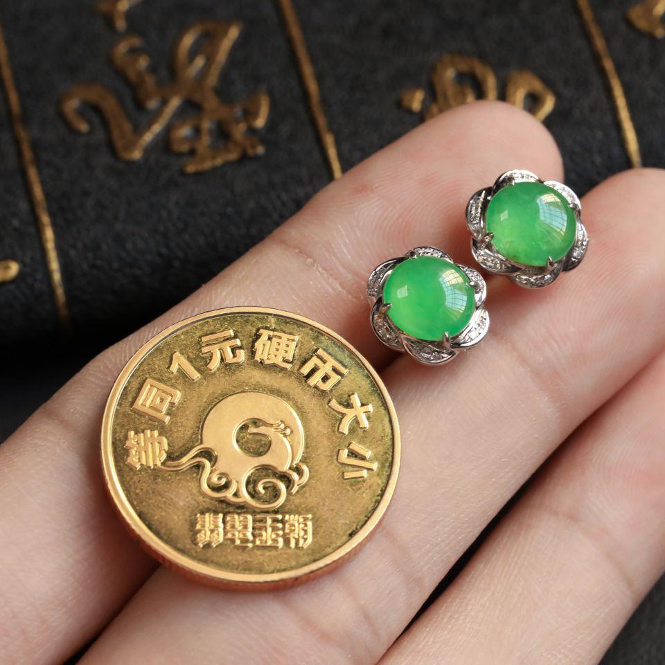 晴水飘翠冰种翡翠耳钉 镶白18K金钻石第5张
